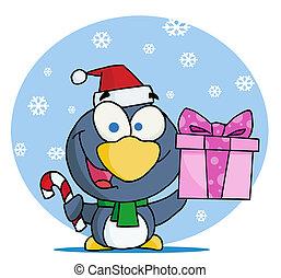 Christmas Penguin Holding A Gift