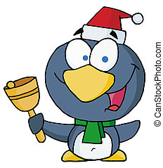 Christmas Penguin Ringing A Bell