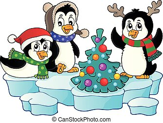 Christmas penguins thematic image 2 - eps10 vector...