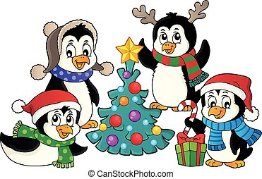 Christmas penguins thematic image 4 - eps10 vector...