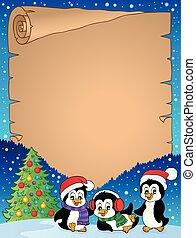 Christmas penguins thematic parchment 1