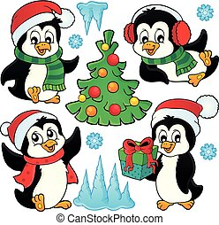 Christmas penguins thematic set 1