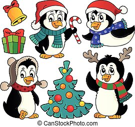 Christmas penguins thematic set 2 - eps10 vector...
