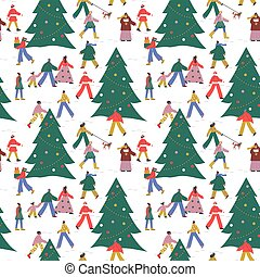Christmas people pine tree winter seamless pattern