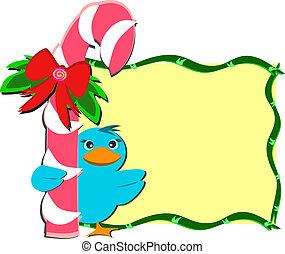 Christmas Peppermint Stick with Bir