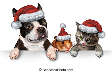 Christmas Pet sign for veterinary medicine and pet store or animal adoption winter holiday advertising and marketing message with a cute dog hamster and a cat with a santa hat hanging on a horizontal white placard with copy space.