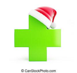 Christmas pharmacy, santa hat on a white background 3D illustration