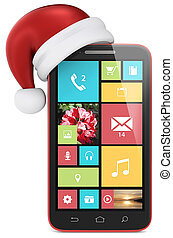 Smartphone with Santa Claus hat. Red with moderns UI.