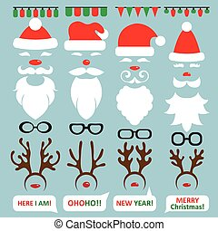 Christmas Photo Booth and scrapbooking vector set Santa,...
