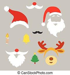 Christmas photo booth and scrapbooking vector set Santa, ...