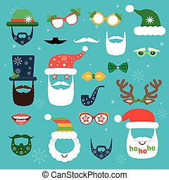 Christmas photo booth. Set of Christmas elements. Scrapbooking vector set