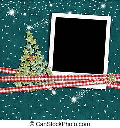 Christmas photo frame fir tree
