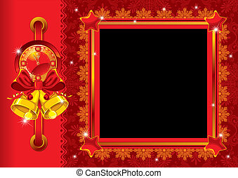 Christmas photo frame with bells
