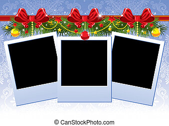 Christmas photo frame with red bow - Three Christmas Photo...