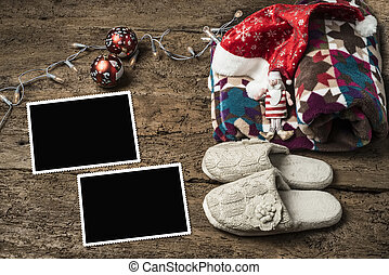 Christmas photo frames, resting holidays