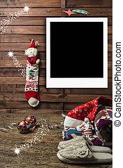 Christmas photo frames postcards, resting on the Christmas...