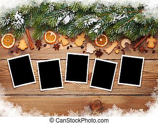 Christmas photo frames, tree, cookies