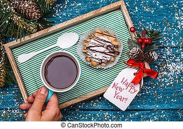 Christmas photo of tea, cake on table