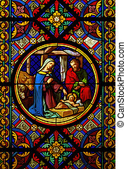 Christmas picture - Christmas Cathedral stained glass window...