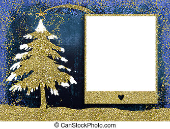 Christmas picture frame cards. - Christmas empty photo frame...