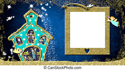 Christmas picture frame greeting card, Nativity Scene.