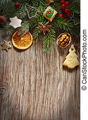 Christmas. - Christmas decoration with cookies and spices on...