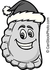 A cartoon illustration of a Christmas Pierogi.