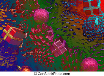 christmas pine cone fruits with decorations gift background