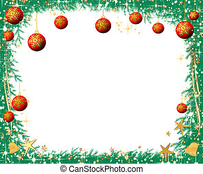 Christmas pine tree branches border on a white background with copy space