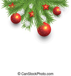 Christmas Pine Tree Branches on White Background