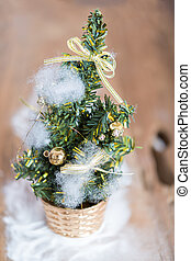 Christmas pine tree decorative on wooden background