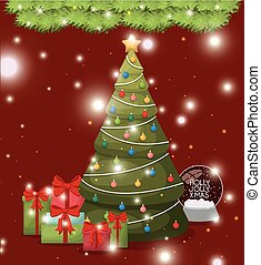 christmas pine tree with gifts