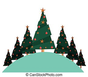 christmas pine trees on white background