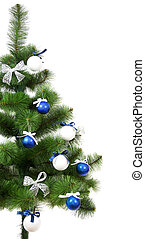 Christmas pine with xmas tinsel isolated on white