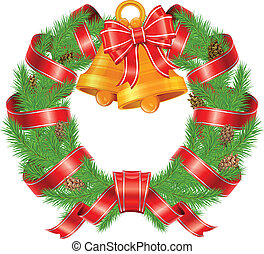 Christmas pine wreath with bells