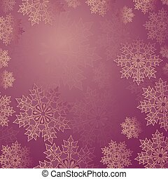 Christmas pink background with a set of graceful white snowflakes