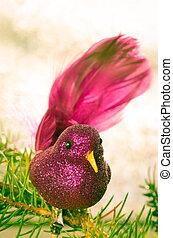 christmas pink bird concept