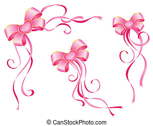 pink bow on a white background