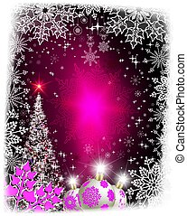 Christmas pink card with a silhouette of a shining Christmas tree.