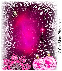 Christmas pink card with abstract shiny Christmas tree.