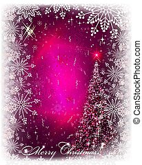 Christmas pink card with shiny Christmas tree.