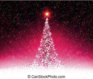 Christmas pink card with shiny Christmas tree, rays of light.