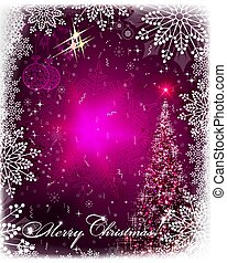 Christmas pink card with shiny spruce, Christmas retro balls and snowflakes