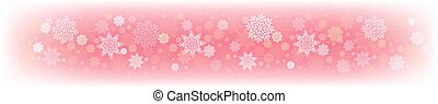 Christmas pink design with a set of white graceful snowflakes.