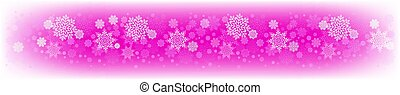 Christmas pink design with a set of white snowflakes.