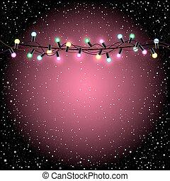 Christmas pink lights snow