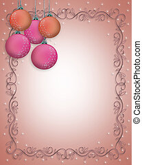 Christmas Pink Ornaments Border