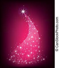 Christmas pink tree with stars