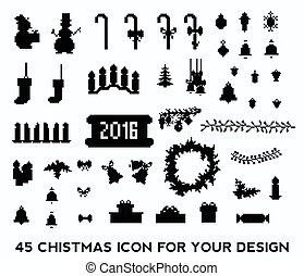 Christmas pixel icons set.