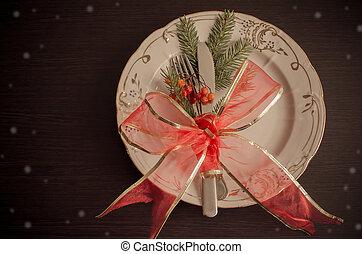 Christmas place setting, plate, knive and fork - Christmas...